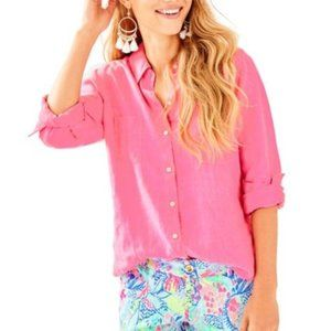 Lilly Pulitzer Pink 100% Linen Button Front Shirt